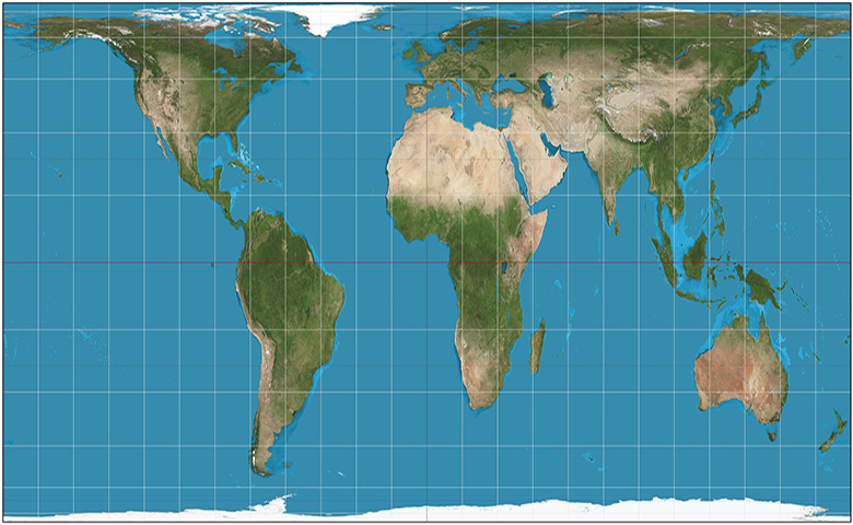 Scaled world map showing longitude and latitude